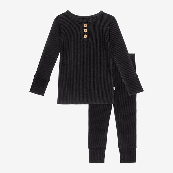 Black Ribbed Long Sleeve Henley Pajamas