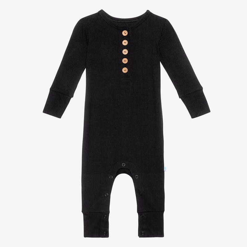 Black Ribbed Long Sleeve Henley Romper
