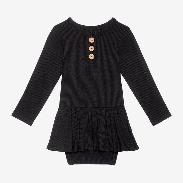 Black Ribbed Long Sleeve Henley Twirl Skirt Bodysuit