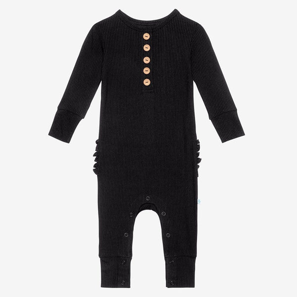 Black Ribbed Long Sleeve Ruffled Henley Romper