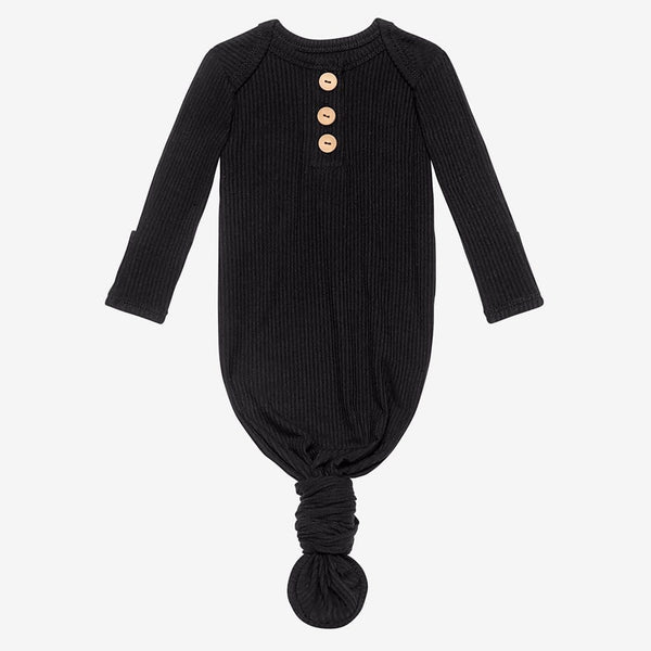 Black Ribbed Button Knotted Gown