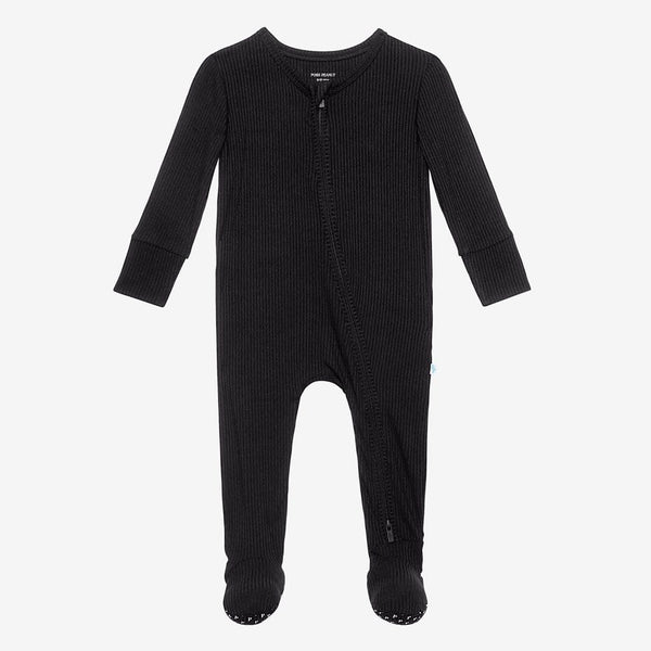 Black Ribbed Footie Zippered One Piece