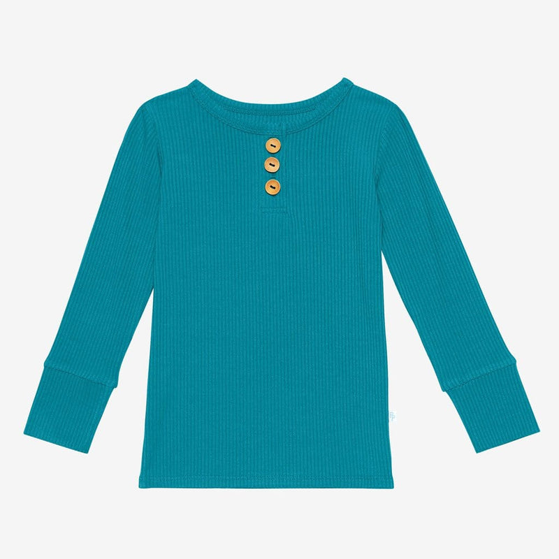 Cerulean ribbed long sleeve henley top
