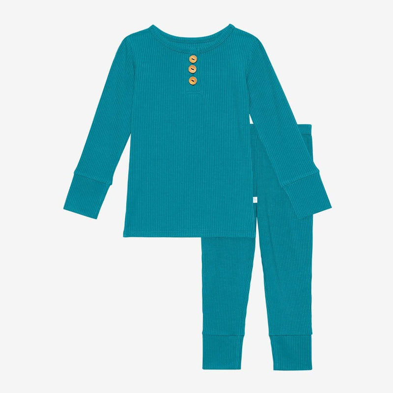 Cerulean ribbed long sleeve henley pajamas
