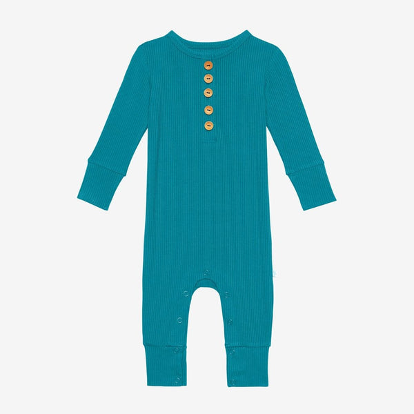 Cerulean ribbed long sleeve henley romper