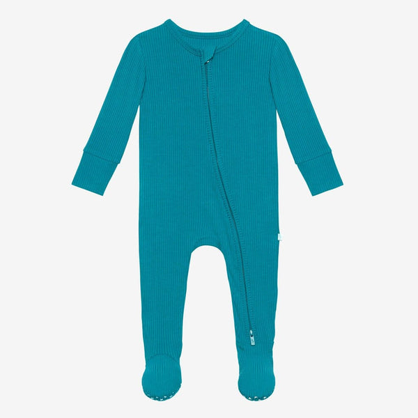 Cerulean ribbed footie zippered one piece