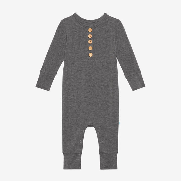 Charcoal Heather Long Sleeve Henley Romper