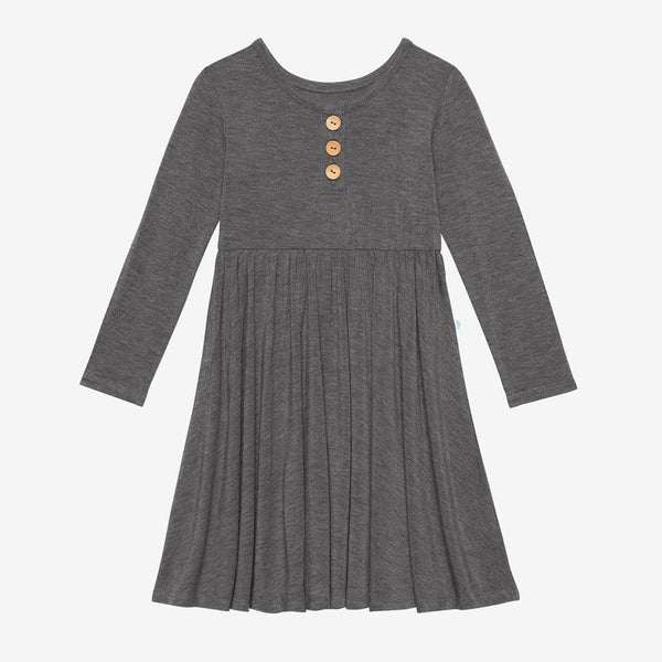 Charcoal Heather Long Sleeve Henley Twirl Dress