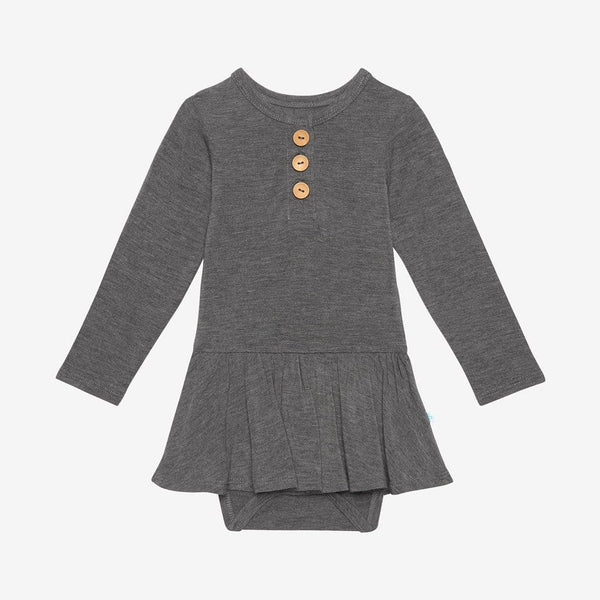 Charcoal Heather Long Sleeve Twirl Skirt Bodysuit