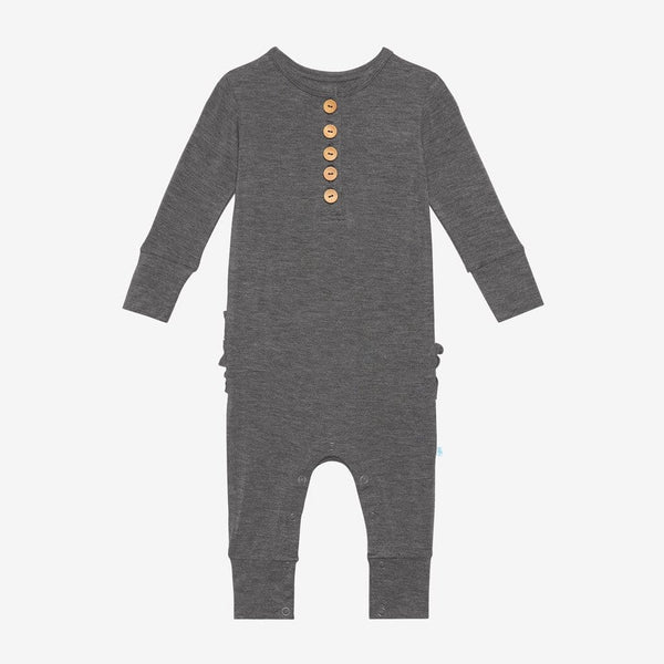 Charcoal Heather Long Sleeve Ruffled Henley Romper