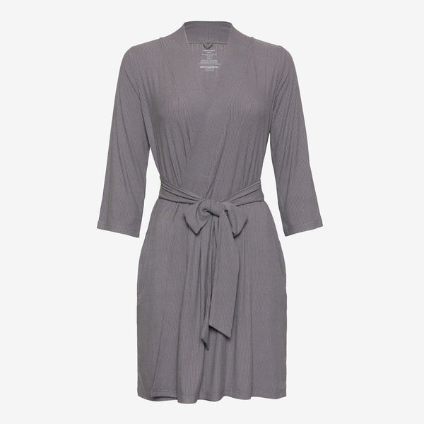 Charcoal Ribbed Robe