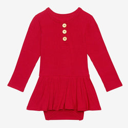 Crimson Ribbed Long Sleeve Henley Twirl Skirt Bodysuit