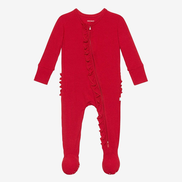 Crimson Ribbed Footie Ruffled Zippered One Piece
