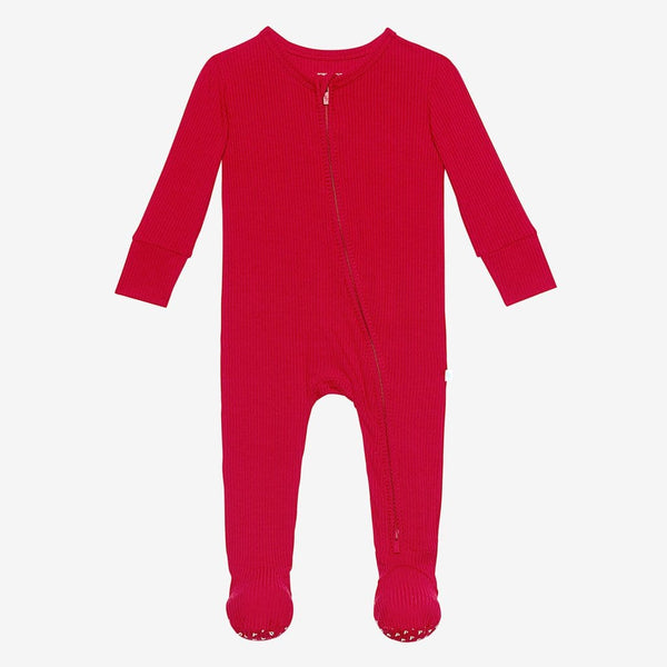 Crimson Ribbed Footie Zippered One Piece