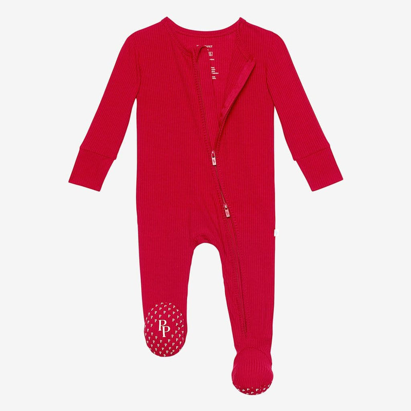 Crimson Ribbed Footie Open Zipper One Piece
