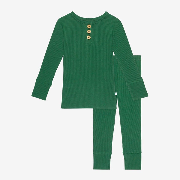 Juniper Green Ribbed Long Sleeve Henley Pajamas