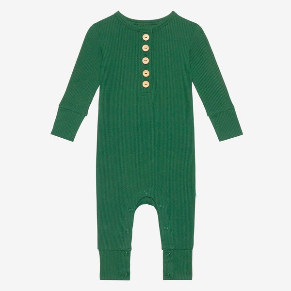 Juniper Green Ribbed Long Sleeve Henley Romper