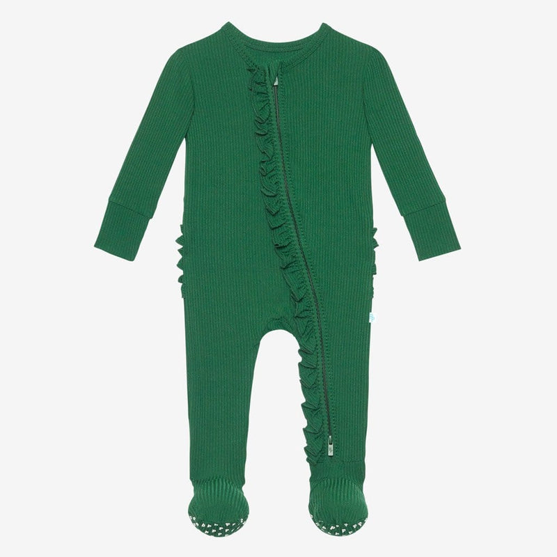 Juniper Green Ribbed Footie Ruffled Zippered One Piece