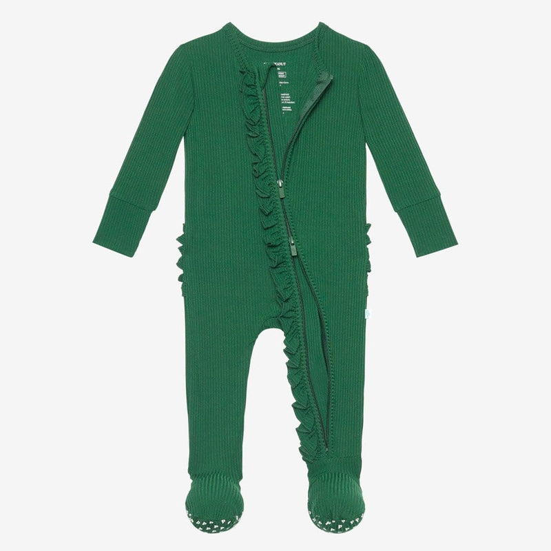 Juniper Green Ribbed Footie Ruffled Open Zipper One Piece