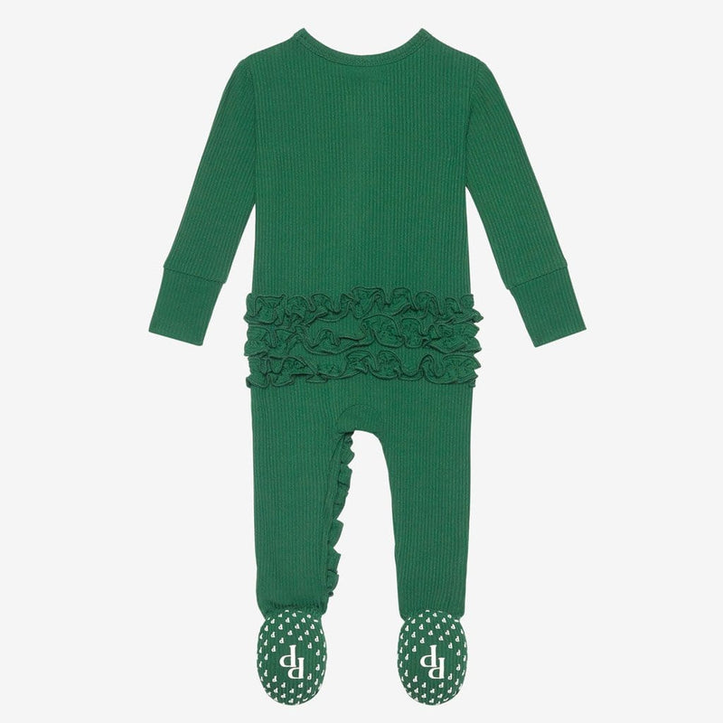 Juniper Green Ribbed Footie Ruffled Zippered One Piece back side