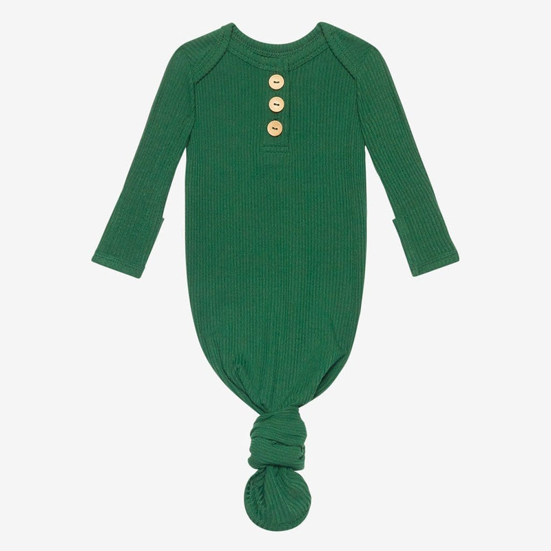 Juniper Green Ribbed Button Knotted Gown