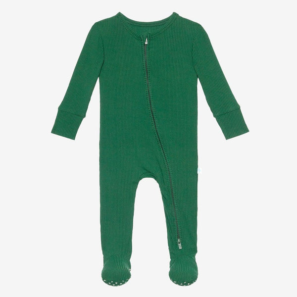 Juniper Green Ribbed Footie Zippered One Piece
