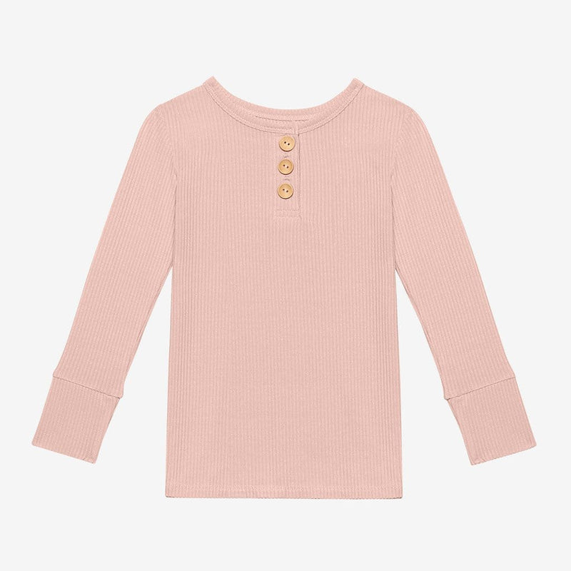 Sweet Pink Ribbed Long Sleeve Henley tops