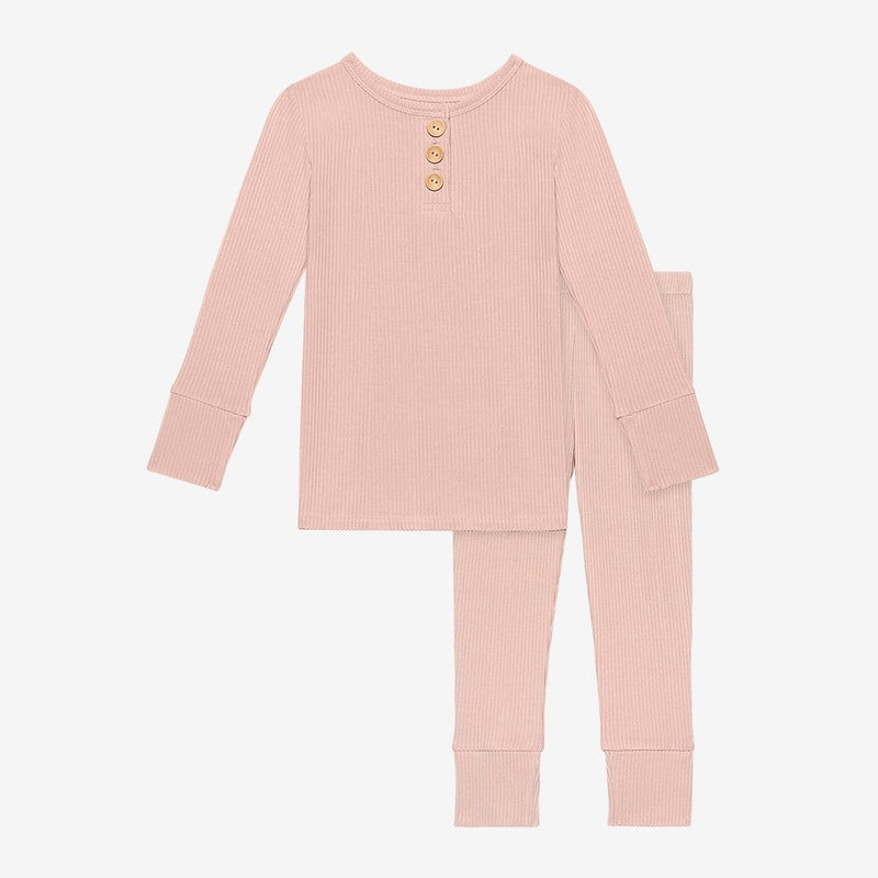 Sweet Pink Ribbed Long Sleeve Henley Pajamas
