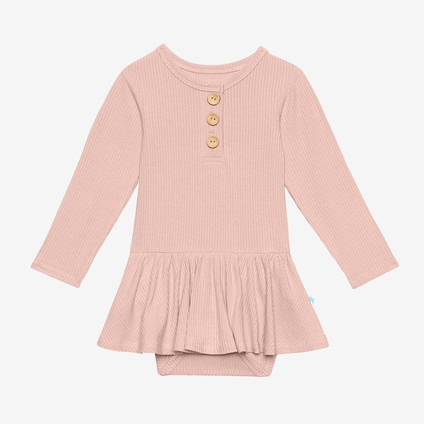 Sweet Pink Ribbed Long Sleeve Henley Twirl Skirt Bodysuit