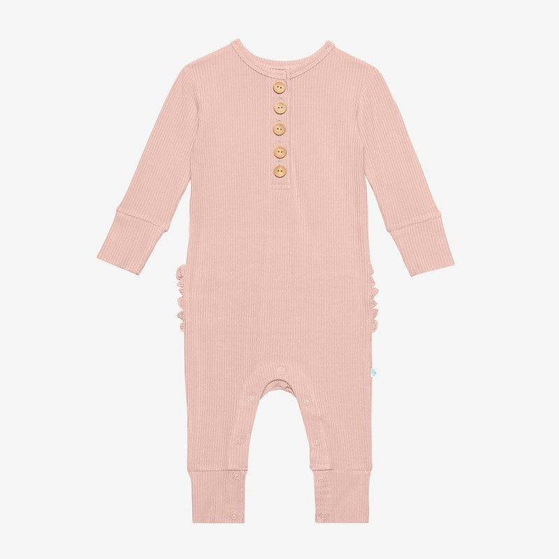 Sweet Pink Ribbed Long Sleeve Ruffled Henley Romper