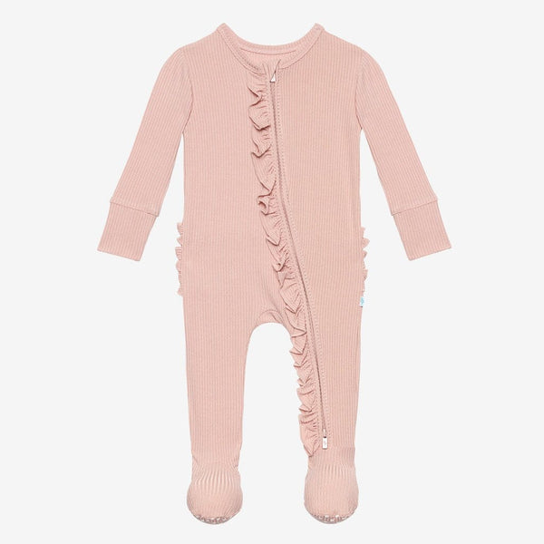 Sweet Pink Ribbed Footie Ruffled Zippered One Piece