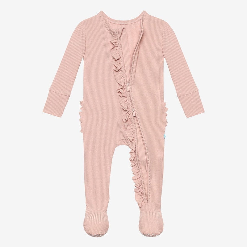 Sweet Pink Ribbed Footie Ruffled Open Zipper One Piece