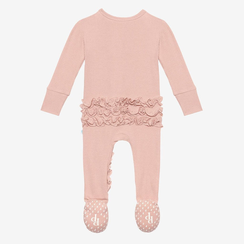 Sweet Pink Ribbed Footie Ruffled Zippered One Piece back side