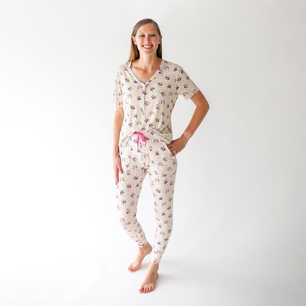 Mommy wearing Frances women's short sleeve loungewear