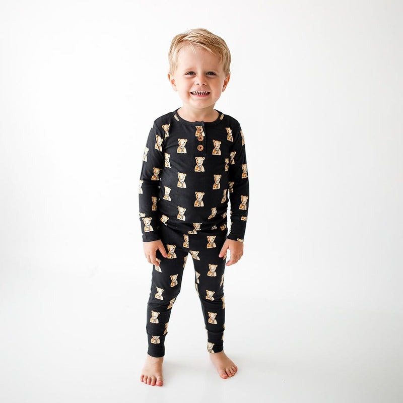 Toddler wearing Fred Long Sleeve Henley Pajamas