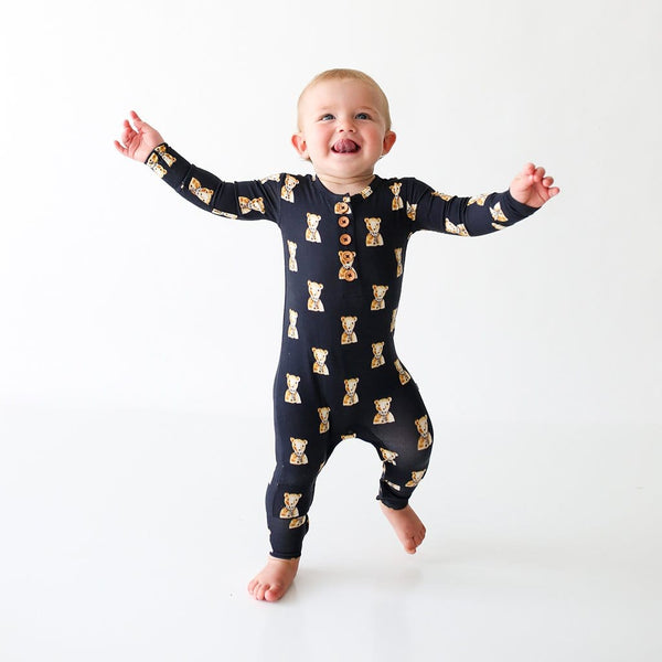 Baby wearing Fred Long Sleeve Henley Romper