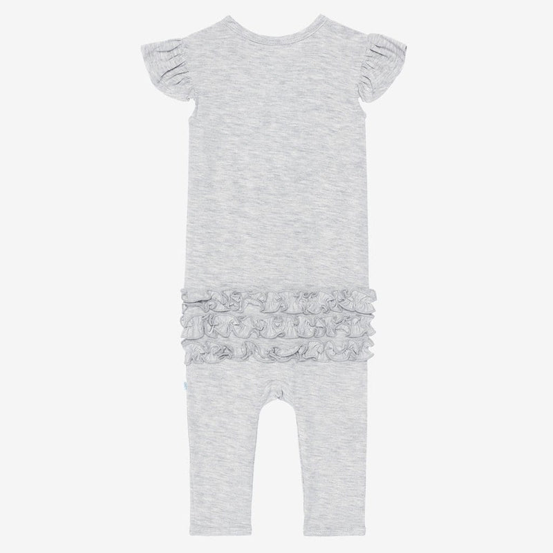Athletic Gray Heather Ruffled Cap Sleeve Henley Romper