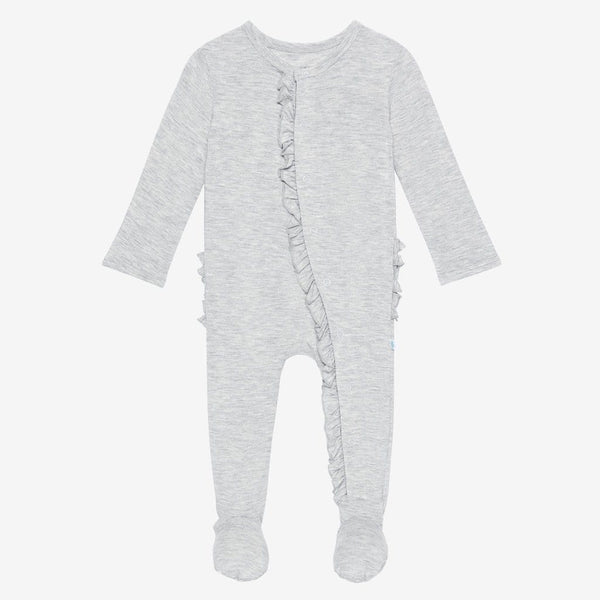 Athletic Gray Heather Footie Ruffled Snap One Piece