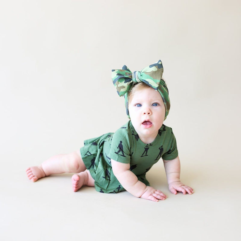 Cute baby wearing James short sleeve twirl skirt bodysuit