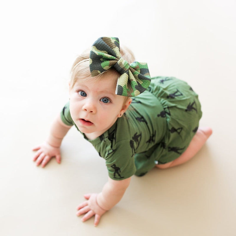 Baby on James short sleeve twirl skirt bodysuit close-up