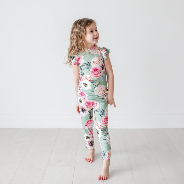 Jolie Ruffled Cap Sleeve Pajamas