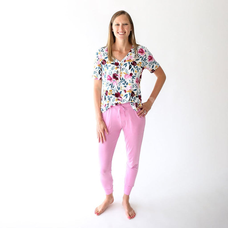 Mommy wearing Jozie women's short sleeve loungewear