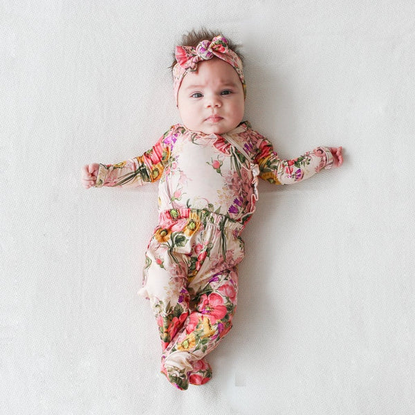 Baby wearing June ruffled kimono set