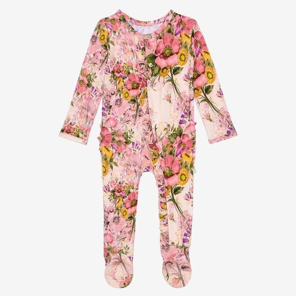 June footie ruffled snap one piece