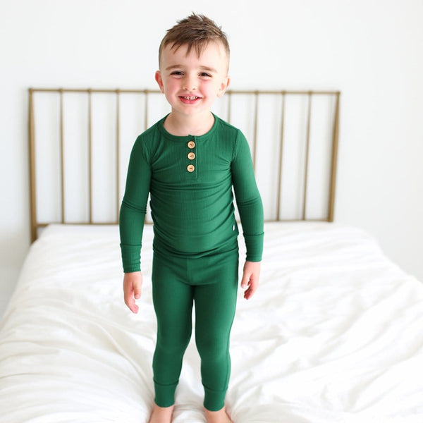 Toddler kid wearing Juniper Green Ribbed Long Sleeve Henley Pajamas