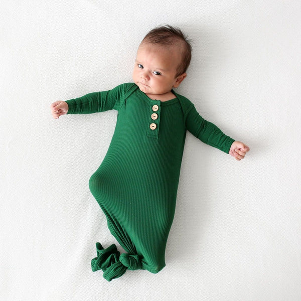 Baby wearing Juniper Green Ribbed Button Knotted Gown