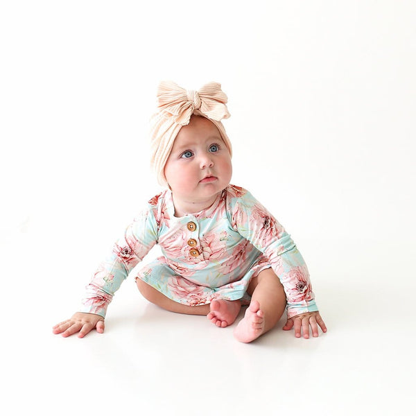 Baby on Kennedy Long Sleeve Henley Twirl Skirt Bodysuit