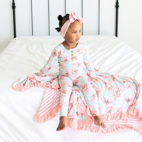 Toddler wearing Kennedy Long Sleeve Henley Pajamas