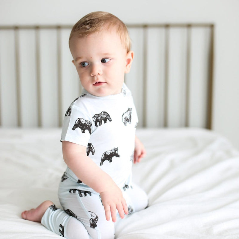Baby boy on Kodiak short sleeve romper