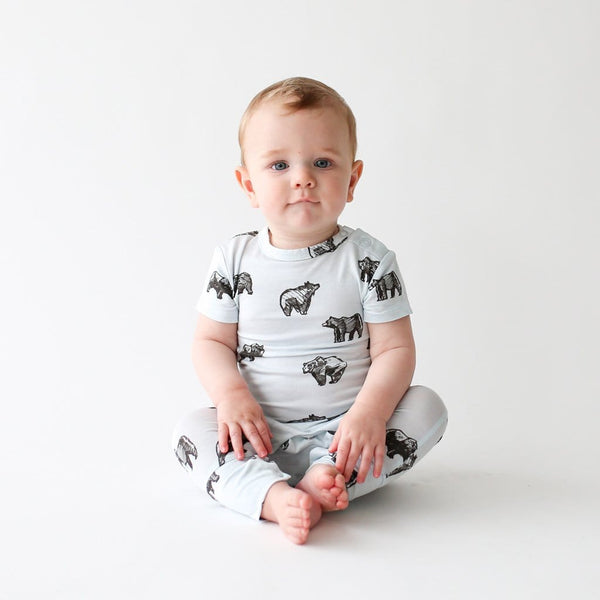 Baby wearing Kodiak short sleeve romper